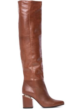 Vic Matié Brown Leather Stove Pipe Boots With Suspended Heel
