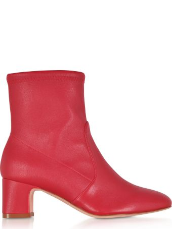 Stuart Weitzman Niki 60 Red Stretch Nappa Ankle Boots