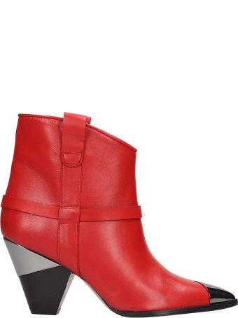 Alchimia Red Leather Ankle Boots