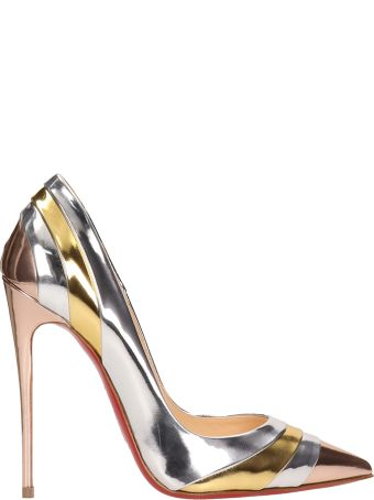 Christian Louboutin Silver And Gold Patent Leather