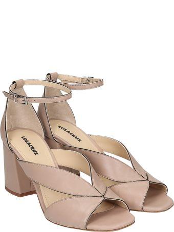Lola Cruz Sandals In Taupe Leather