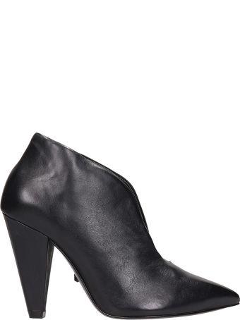 Schutz V Cut Black Leather Ankle Boots