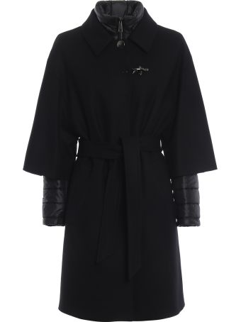 Fay Two In One Black Double Front Belted Coat