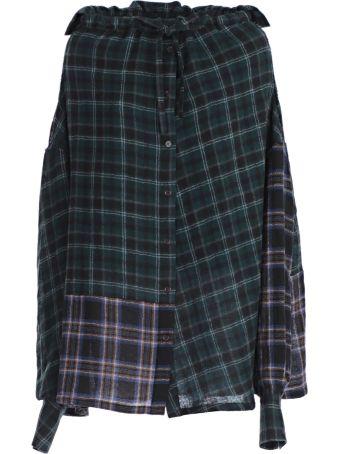 Yohji Yamamoto Contrast Tartan Print Skirt