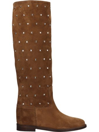 Via Roma 15 Brown Suede Leather Boots