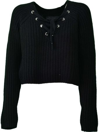 Kendall + Kylie Lace-up Cropped Sweater