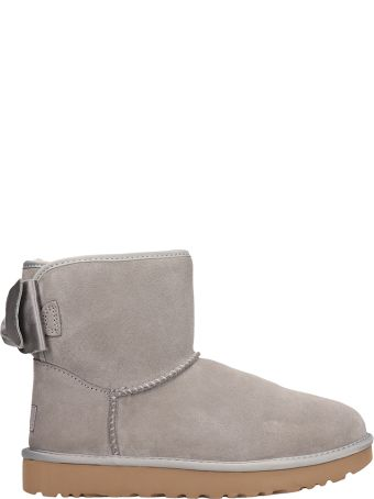 UGG Mini Bow Satin Shearling Boots In Grey