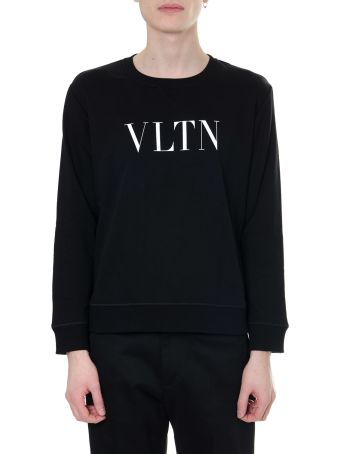 Valentino Black And White Vltn Sweatshirt In Cotton