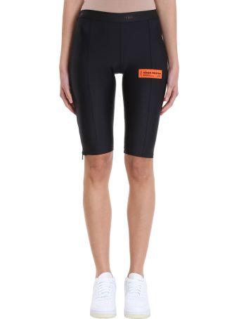 HERON PRESTON Black Logo Nylon Stretch Biker Shorts