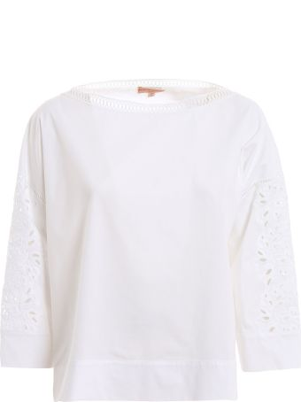 Ermanno Scervino Lingerie Embroidered Sleeve Blouse
