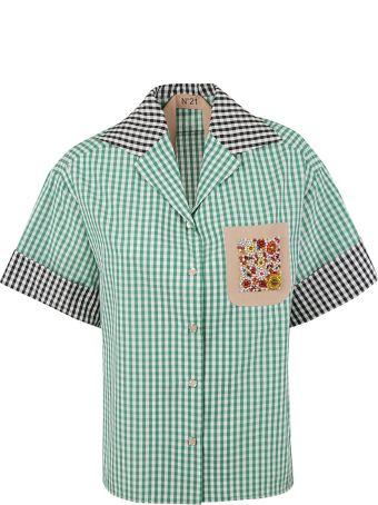 N.21 Bead Applique Checked Shirt