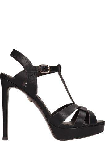 Lola Cruz Black Leather Sandals