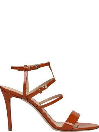 Dei Mille Browne Patent Leather Sandals