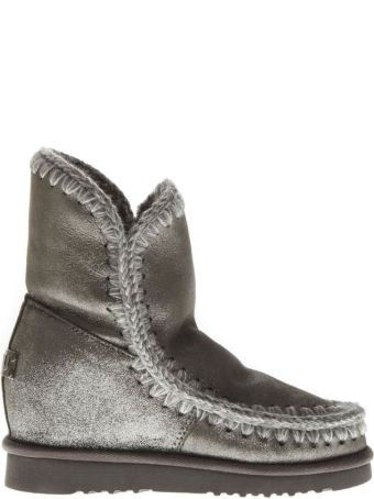 Mou Eskimo Light Silver Wool & Leather Boots