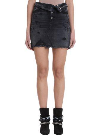 AMIRI Black Denim Skirt