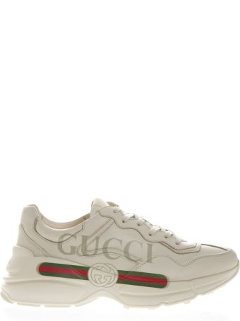 Gucci Ivory Leather Rhyton Sneakers With Gucci Logo