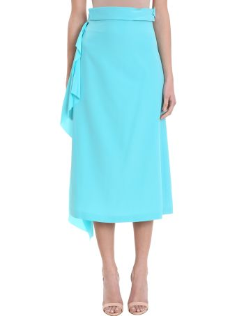 Maison Flaneur Asymmetric Light Blue Silk Skirt