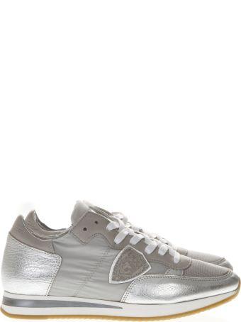 Philippe Model Metallic Grey Leather And Nylon Sneakers