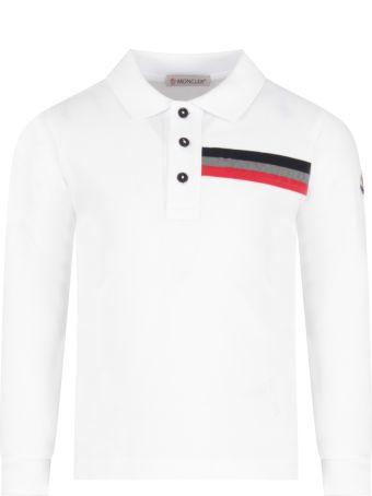 Moncler White Polo For Boy Shirt With Logo
