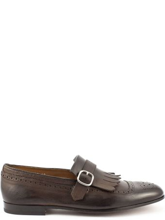 Doucal's Brown Leather Fringed Loafer