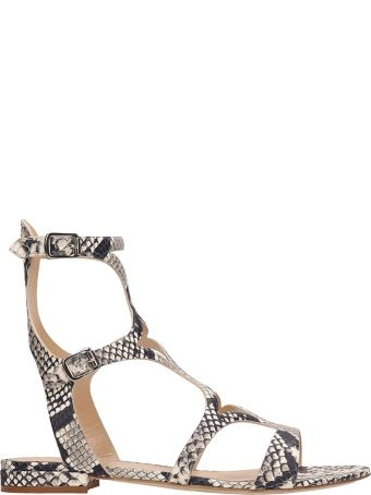 The Seller Python Print Leather Gladiator Sandals