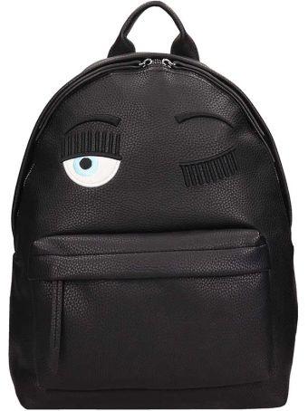 Chiara Ferragni Black Leather Eye Backpack