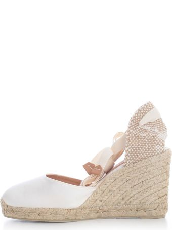 Castañer Carina Satin Espadrilles W/lace On Ankle