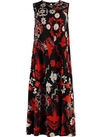 RED Valentino Printed Silk Midi Dress