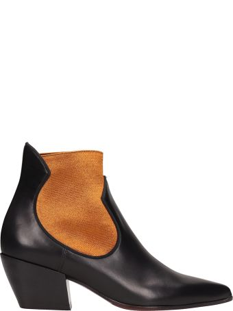 Dei Mille Black Leather Ankle Boots