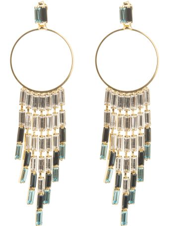 Rosantica Circle Earrings With Blue Crystal Pendants