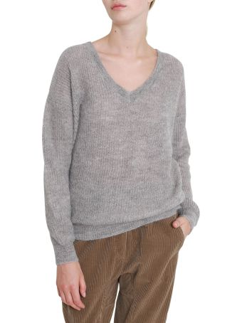 Brunello Cucinelli Knitted Pull With Lurex And V Neck