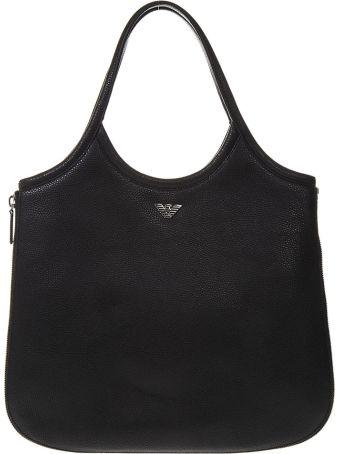Emporio Armani Hobo Black Leather Tote With Zip Around