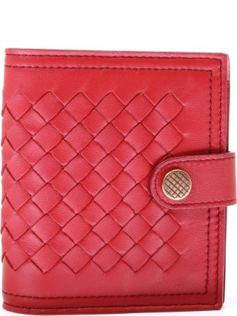 Bottega Veneta Woven Wallet Red Leather