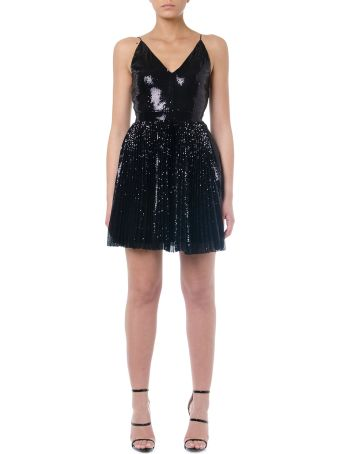 MSGM Black Plissé Sequins Mini Dress