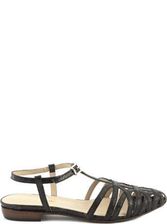 Duccio del Duca Black Leather Gardenia Sandals