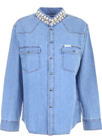 Forte Couture Denim Shirt With Pearls And Chains