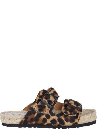 Manebi Leopard Leather Sandals