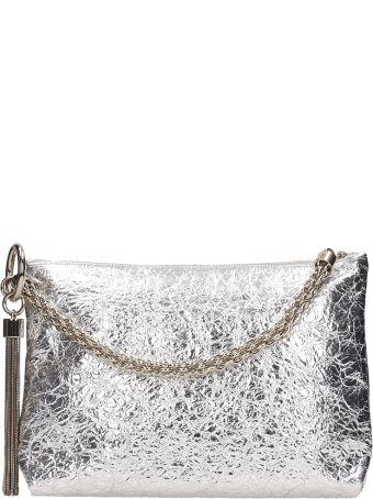 Jimmy Choo Callie Silver Metal Leather  Clutch Bag