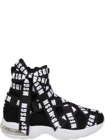 MSGM Sneakers In Black Fabric With Logo Tape