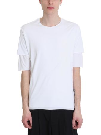 Attachment White Cotton Double T-shirt