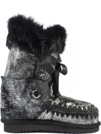 Mou Eskimolace In Black Sheepskin With Laces And Fur.