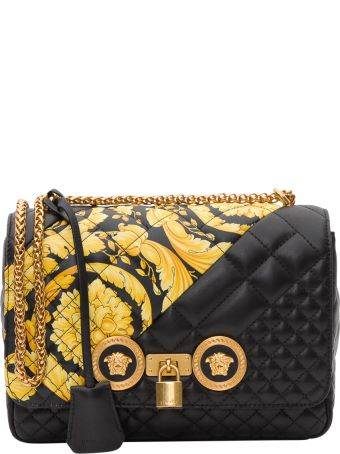 Versace Icon Shoulder Bag With Gold Hibiscus Motif