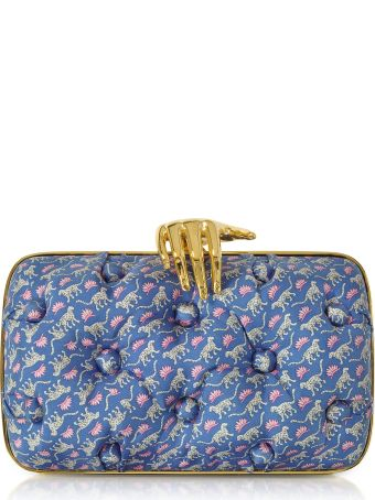 Benedetta Bruzziches Leopards Printed Blue Satin Silk Carmen Clutch W/ Golden Hand