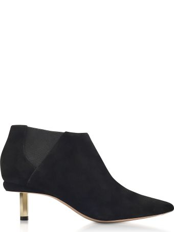 Nicholas Kirkwood Black Suede 55mm Polly Chelsea Boots