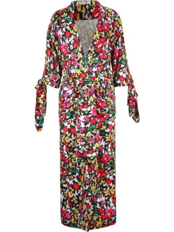 ATTICO The Attico Tie Waist Floral Coat
