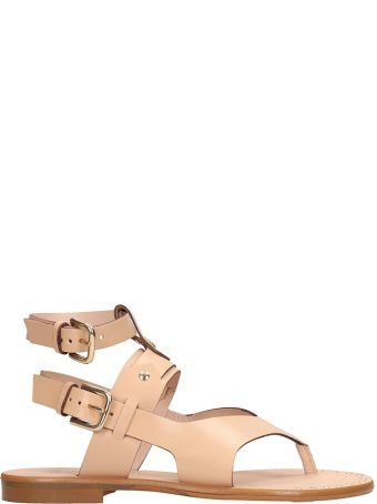 Sarah Summer Nude Leather Flats Sandals