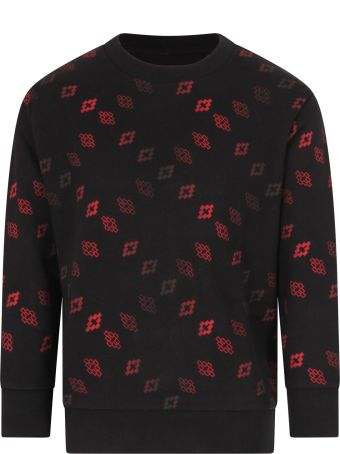 Marcelo Burlon Black Sweatshirt For Boy With Red Cross