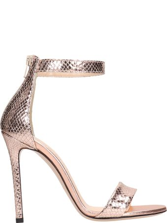 Marc Ellis Bronze Laminated Snake Print Sandals