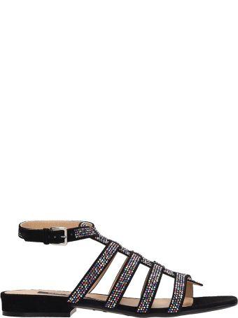 Sergio Rossi Black Suede Flats Sandals
