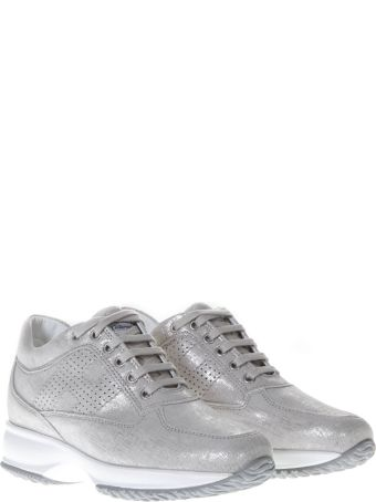 Hogan Silver Sneakers Interactive In Leather